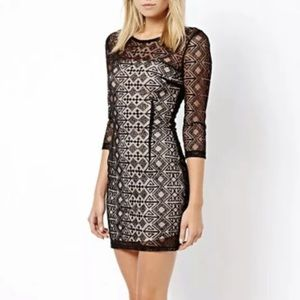 MANGO Suit MNG Lace Bodycon Mini Dress 3/4 Sleeves